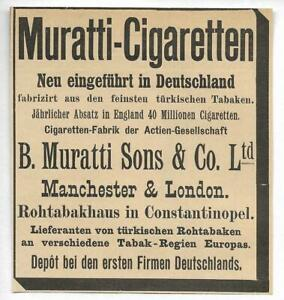 Werbung-1895-MURATTI-CIGARETTEN-Hist-Annonce-Reklame