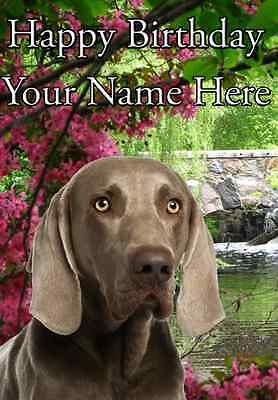 Weimaraner Dog Personalised Birthday Greetings Card