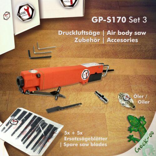 Druckluft-Säge Stichsäge Karosseriesäge GLOCKE Werkzeuge GP-S170 CE Zubehör-Sets