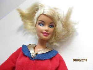 Barbie doll blonde hair bending limbs new black boots, golden slacks & top 2009