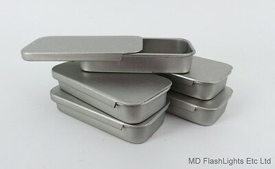 5 x 10ml MINI SILVER SLIP LID RECTANGULAR STORAGE TIN BUSHCRAFT SURVIVAL CAMPING