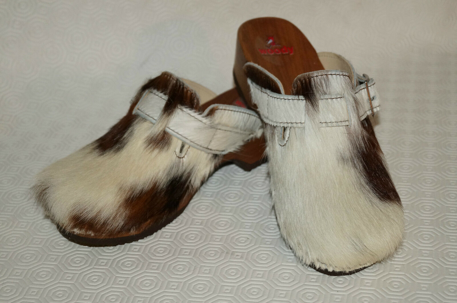 Woody Damen Clogs NEU Pantolette wood-o-flex Fell Naturfell NEU Clogs Gr. 36 bis 42 6b8853