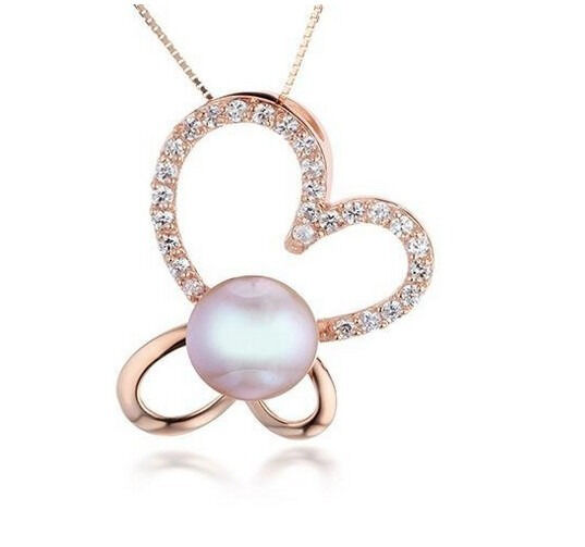 PERFECT ROUND AAA 12MM SOUTH SEA GENUINE lavender PEARL pink gold PENDANT