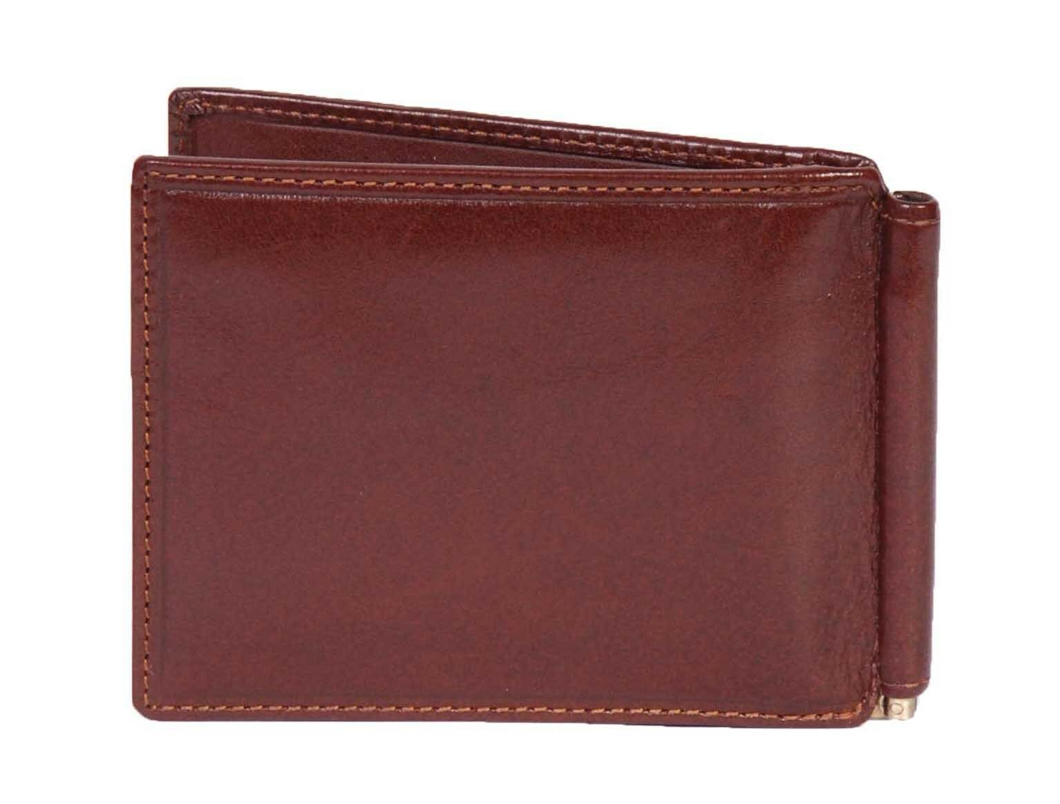 Mens BROWN Leather Wallet Slim Banknotes Money Clip Credit Cards Gift Box Dollar