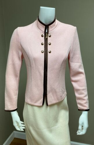 St John Pink Santana Knit Brown Silk Ribbon Trimme