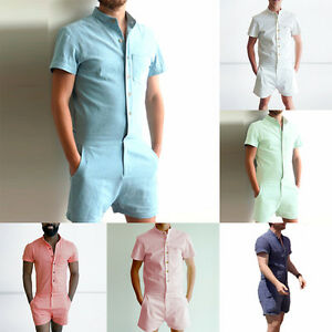 Fashion Man S Short Sleeve Pants One Piece Shorts Jumpsuit