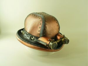 2fbab35e748 Image is loading GENUINE-COPPER-COLOURED-LEATHER-BURNING-MAN-STEAMPUNK-MENS-