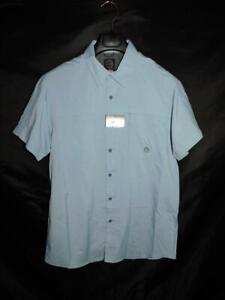 Wrangler-M-NWT-Light-Blue-ATG-Camp-Shirt-Short-Sleeve-Chest-Pockets-Button-M-Men