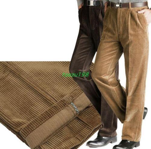 Homme En Velours Côtelé Chaud Robe formelle Pantalon loose straight pantalon loisirs 30-46 SZ