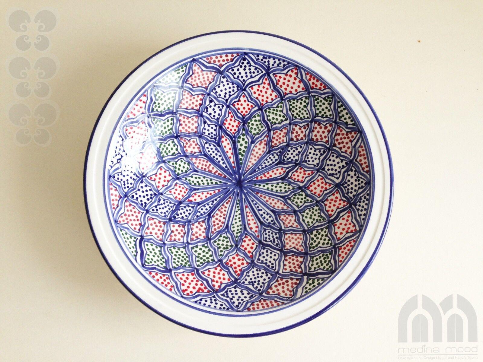 Schale Keramik Ø 32 cm handbemalt, Obstschale, Deko, orientalisch, Handarbeit