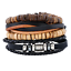 Men-039-s-Braided-Multilayer-Leather-Stainless-Steel-Cuff-Bangle-Bracelet-Wristband thumbnail 1