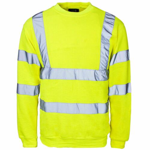 Hi Vis Visibility Safety Work Sweatshirt JumperSecurity Top Crew Neck Shirt