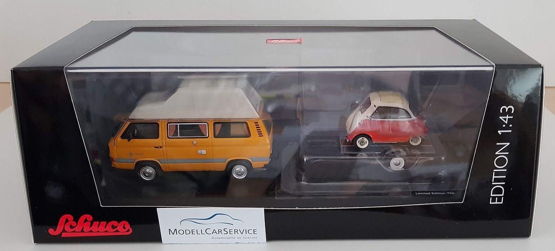SCHUCO 1 43  03303 VW T3 JOKER Campingbus con remolque de coches y BMW Isetta