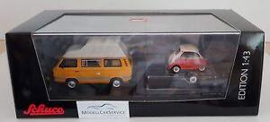 Schuco 1/43 : 03303 Vw T3 Joker Bus De Camping Avec Remorque Automobile Et