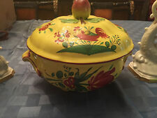 ELYSEE BY LUNEVILLE FAIENCE DE FRANCE LOUIS XV YELLOW LARGE SERVING TUREEN MINT