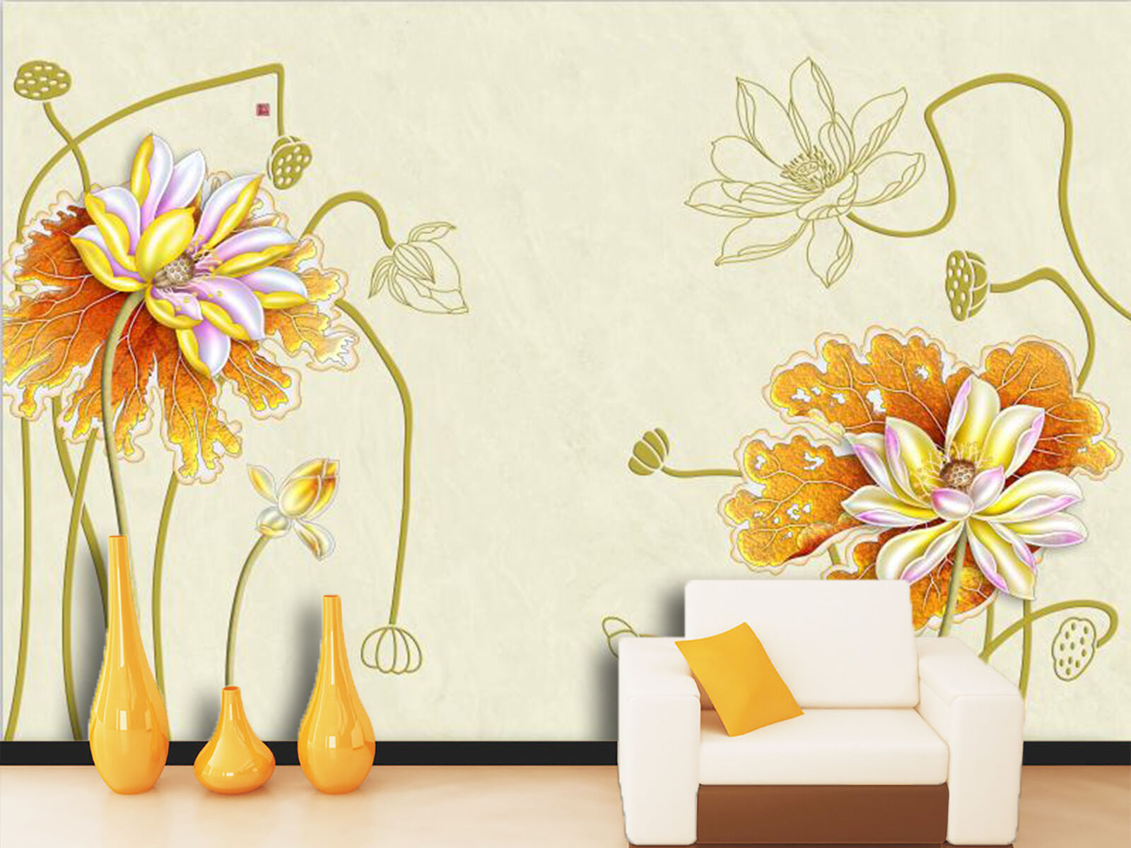 3D Golden Lotus Flower Flower Flower Plant 62 Wall Paper Wall Print Decal Wall AJ WALLPAPER CA 50c69c