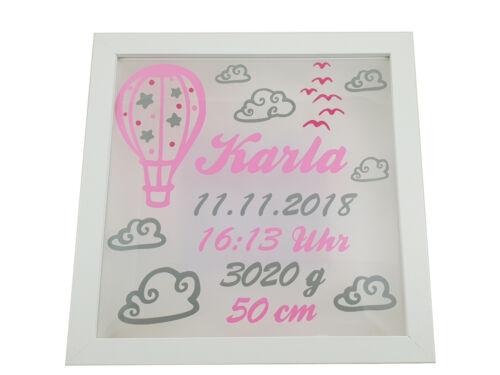 ♥ Leuchtrahmen Heißluftballon ♥ Geschenk Taufe//Geburt ♥