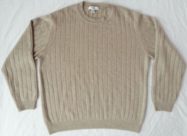 100% Cashmere Ribbed Knit Crewneck Pullover Sweater - Mens XL Brown Beige