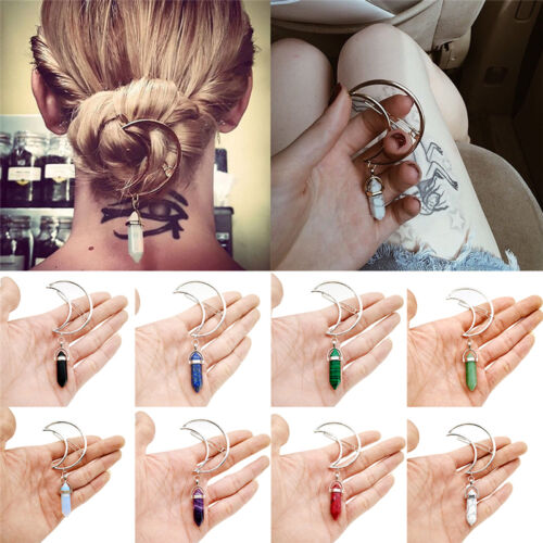 Women Vintage Alloy Moon Hair Clips Natural Stone Pendants Charms Clamp Hairp ZF