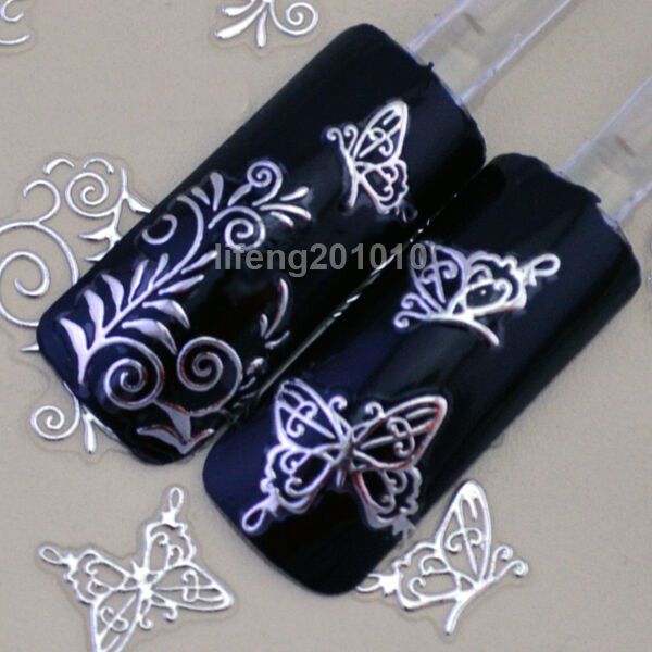 High Quality 3D Silver Nail Art Stickers Decals Decorations Hot stamping TB006