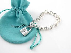 565c89ceb Tiffany & Co Silver 1837 Padlock Charm Bracelet Bangle Box Pouch | eBay