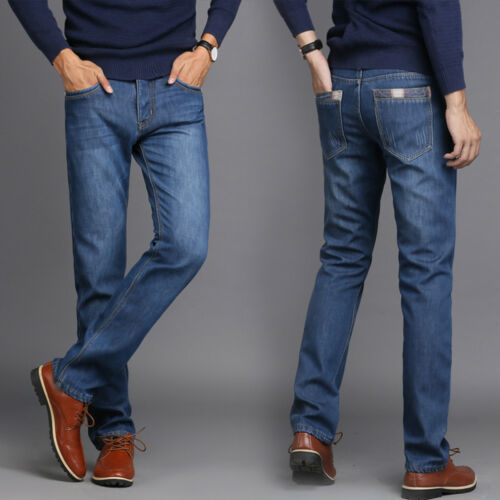 Mens Winter Thick Thermal Jeans Fleece Fur Lined Denim Pants Warm Trousers 30-40