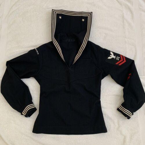 Vintage 1940 Men's Black Wool Sailor Shirt