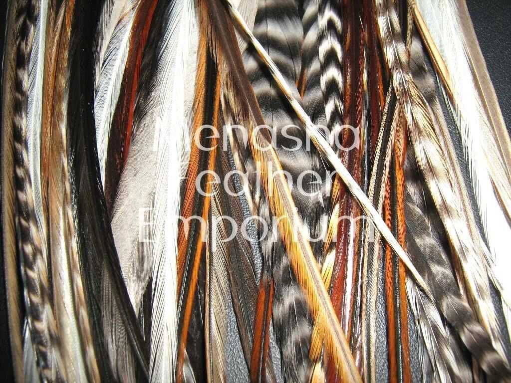 Feather hair extensions 50 W FLUFF NATURAL wide GRIZZLY 100% WHITING Saddle XXL