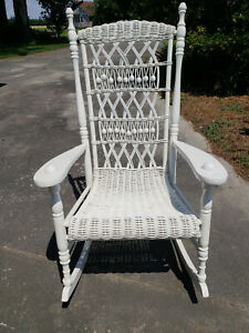 Details About Vintage Wicker Rocking Chair Intricate Detail Never Outdoors.