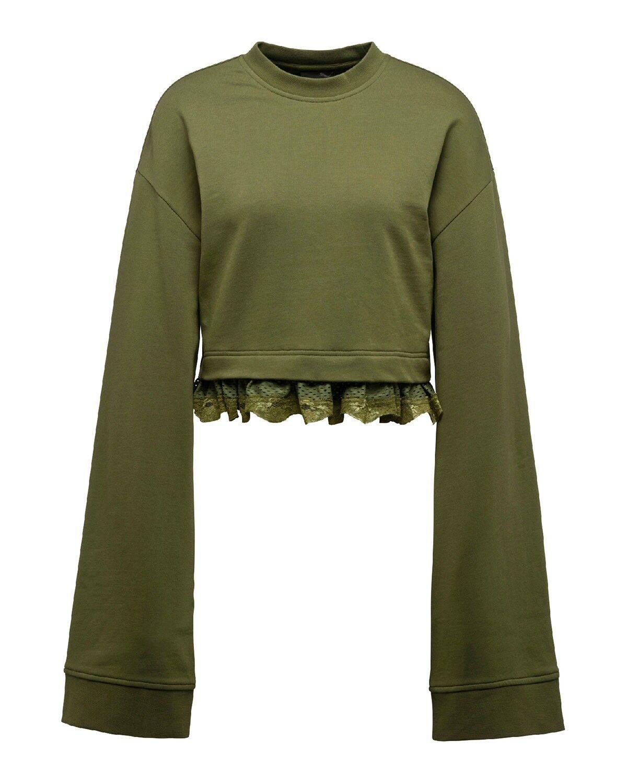 Puma Fenty by Rihanna Cropped Lace-Hem Long Sleeve Sweatshirt Olive Green