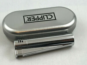 Clipper-Jet-Flame-Chrome-poliert-Feuerzeug-Box-ovp-Edel-Design