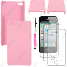 Etui Housse Coque Rigide Fine sans Rose Apple iPhone 4S 4+Mini Stylet+3 Films