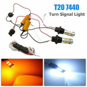 Switchback-A-Due-Colori-Turno-Lampadina-Segnale-Kit-2x-50W-7440-T20-42-LED-2835