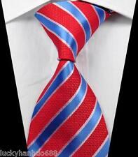 New Classic Stripes Red White Blue JACQUARD WOVEN 100% Silk Men's Tie Necktie