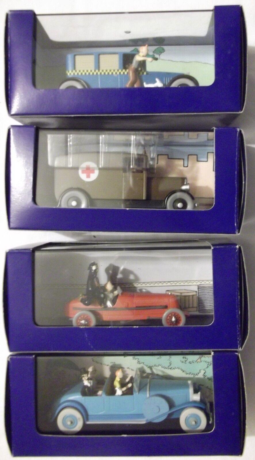 4 véhicules En Voiture Tintin - boîte + certificat / Editions Atlas