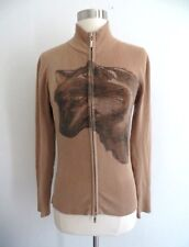 Vtg wolf glittery graphic print full zip sweater camel tan color fits size SMALL
