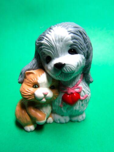 V20 1988 HALLMARK MERRY MINIATURE PUPPY DOG KITTY CAT VALENTINE FIGURINE