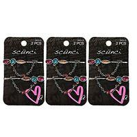 Scunci Bobby Pin Hair Clips Rhinestone Jeweled Chain Bead Detail 3 Packs Of 2