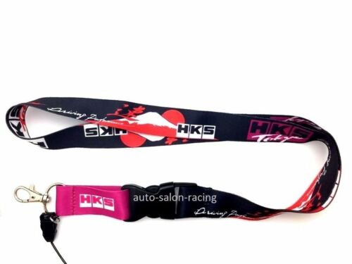 JDM HKS Lanyard Keychain Neck Strap Quick Release Key Chian 2 Sided Print