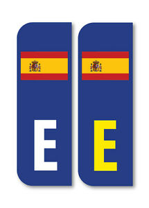 2 x E Spanish Flag Car Number Plate vinyl stickers