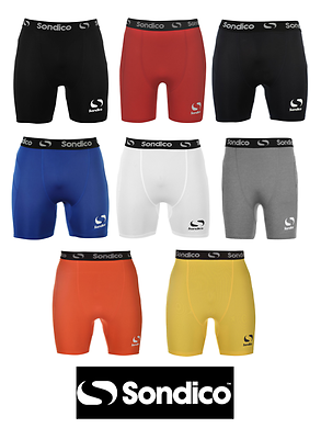 Branded Sondico Core 6 Compression Fit Base Layer Shorts Black Navy Royal Red