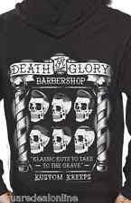130622 Kustom Kreeps Death Glory Barbershop Mens Hoodie Sourpuss Goth Horror Sm