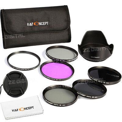 52 58 67 72 77mm UV CPL FLD ND2 ND4 ND8 Neutral density Lens Filter Kit Hood Cap
