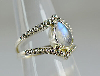 US-RBM-008 Rainbow Moonstone Ring 925 Solid Sterling Silver Handmade Jewelry
