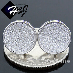 MEN 925 STERLING SILVER 12MM ICY DIAMOND BLING ROUND SCREW BACK STUD EARRING*111