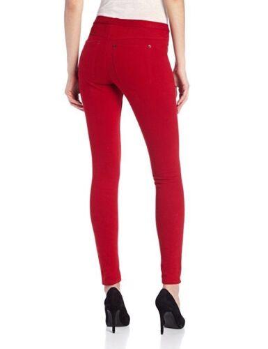 New Women/'s HUE Original Jeans Leggings Back Pocket Full Length Pants Red Sz XS