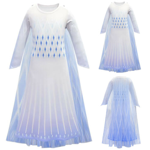 3-12Y Girls Frozen2 Queen Elsa Cosplay Costume Kids Party Fancy Dress Up Outfit