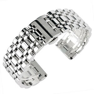 20/22/24mm Bracelet Replacement Watch Band Strap Stainless Steel Men Silver HQ