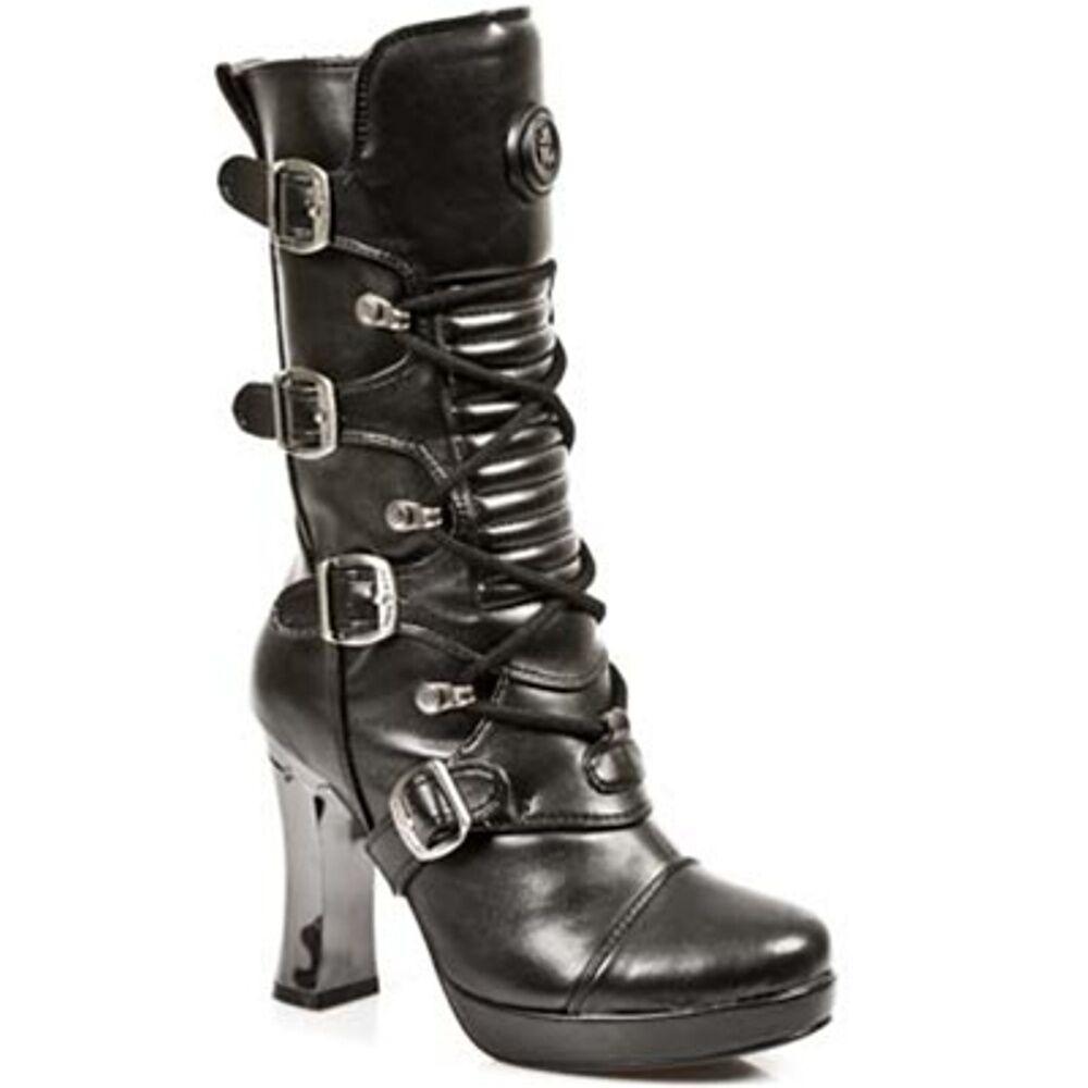 NEWROCK New Rock Mujeres Botas 5815 Punk S10 Negro - Punk 5815 Gótico Botas de Cuero eecc20