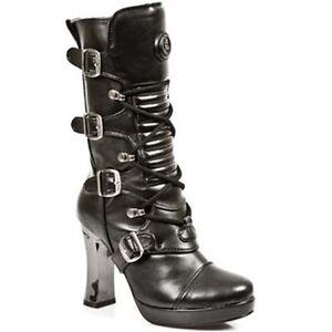 NEWROCK-New-Rock-Mujeres-Botas-5815-S10-Negro-Punk-Gotico-Botas-de-Cuero